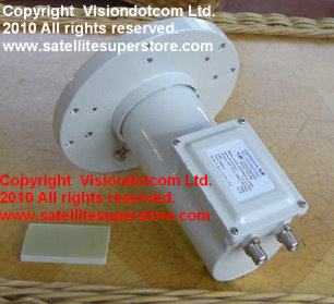 Twin C Band voltage switching LNB with feedhorn.